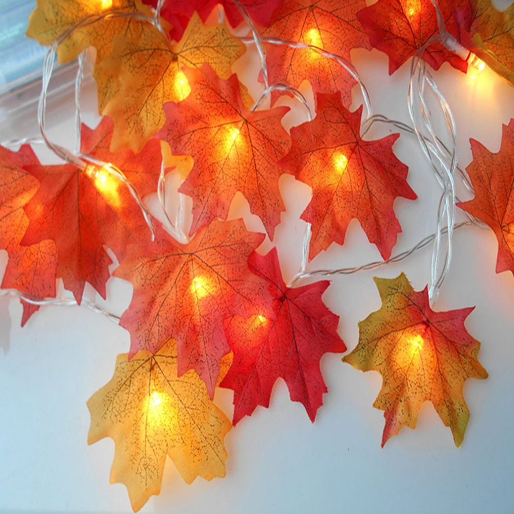 Fall Garland Maple Leaf String Lights Shades Of Orange And Yellow Leaves 10 LED Lights Perfect Christmas Gift  Warm White