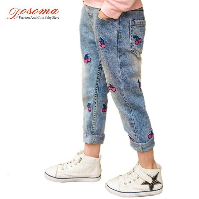 330cf9299b Niños Pantalones 2018 nueva primavera Niñas moda Vaqueros bordado cereza niños  Pantalones para Niñas adolescente Pantalones