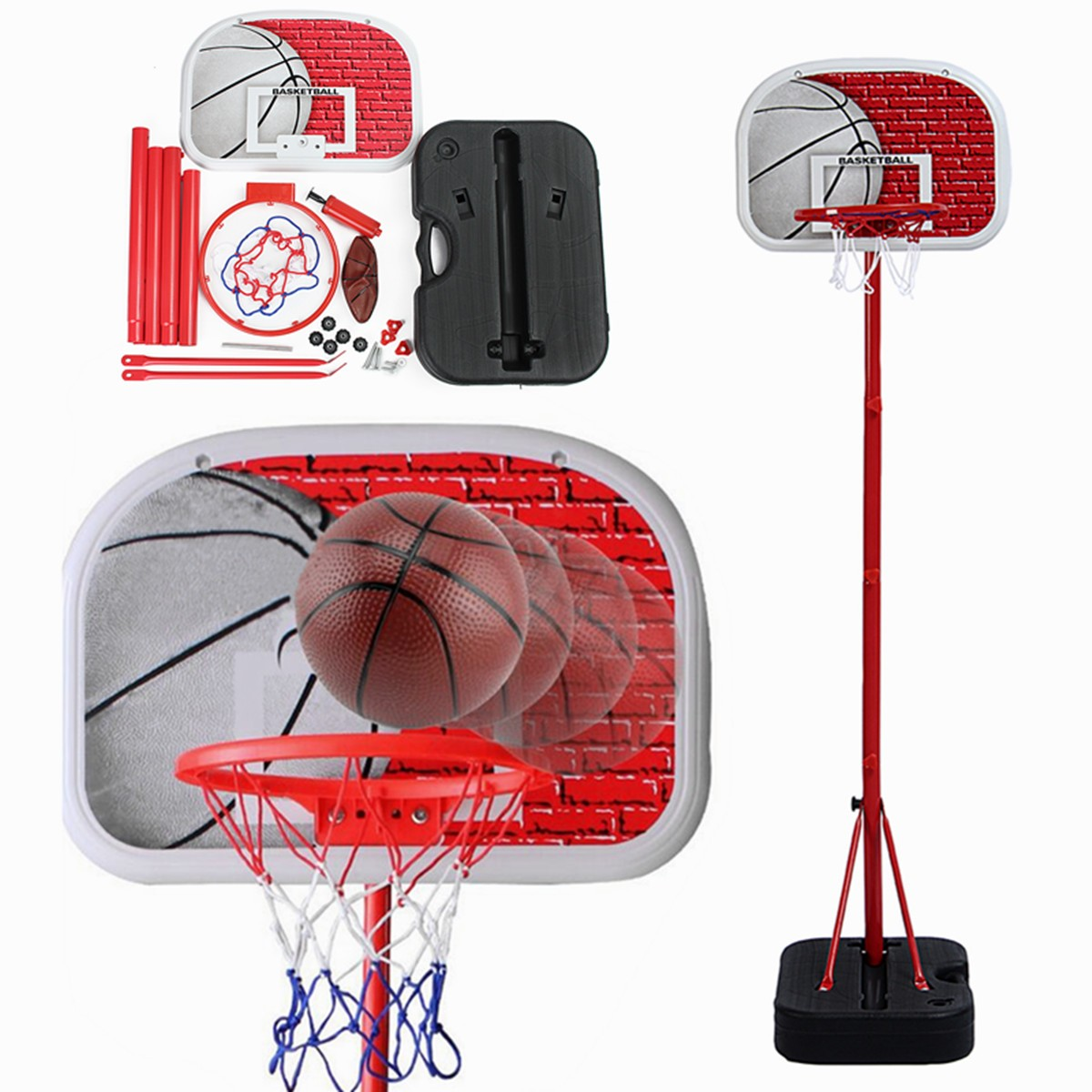 Adjustable Height Junior Kids Basketball Stand Backboard Ball Pump Goal Net Ring Hoop Set Children Outdoor Indoor Game Toy