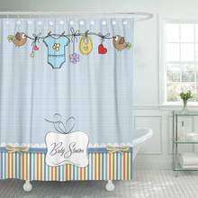 Shower Curtain with Hooks Newborn Baby Boy Child Birth Girl Cute Tag Birthday Socks Bathroom Decor(China)
