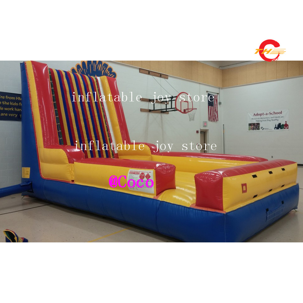 Free Air Ship To Door,5x3x3.5m Commercial Inflatable Air Sticky Jumping Wall With Suit Outdoor Fun & Sports Jumper Jumping Wall Carnival Games