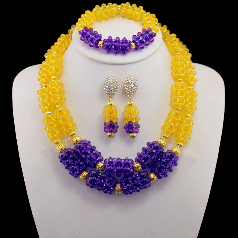2017 Purple Yellow Fashion Dubai Gold-color Gold Pated Jewelry Set High Quality Nigerian Wedding African Beads Jewelry Set