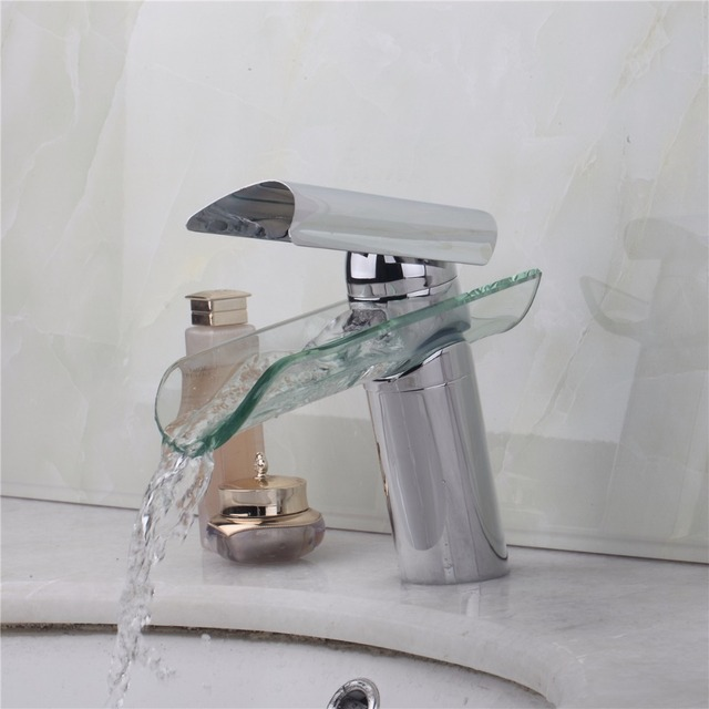 Artist Basin Sink Faucet Waterfall Bathroom Tempered Round Glass ...