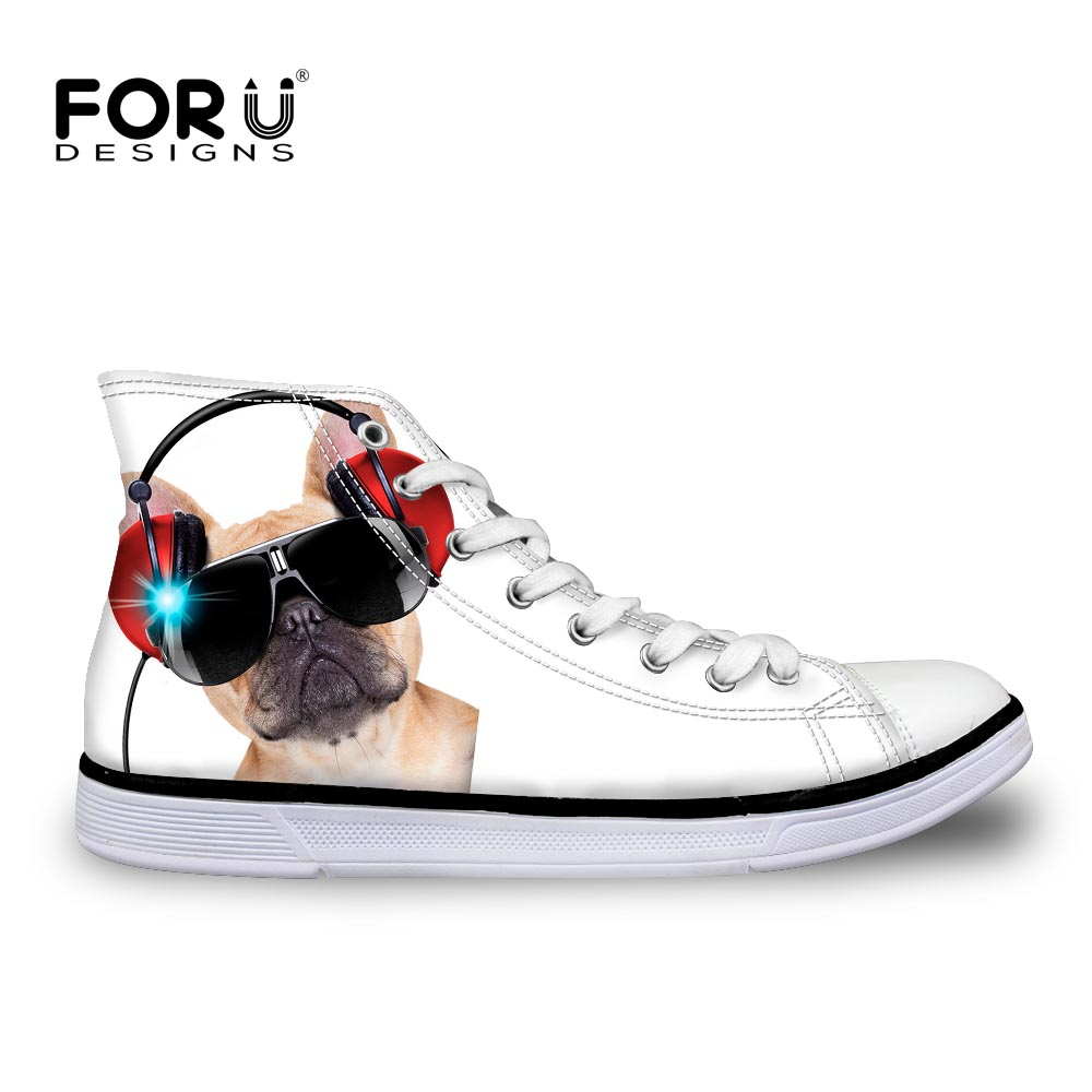 forudesigns 3d pug high top canvas shoes classic