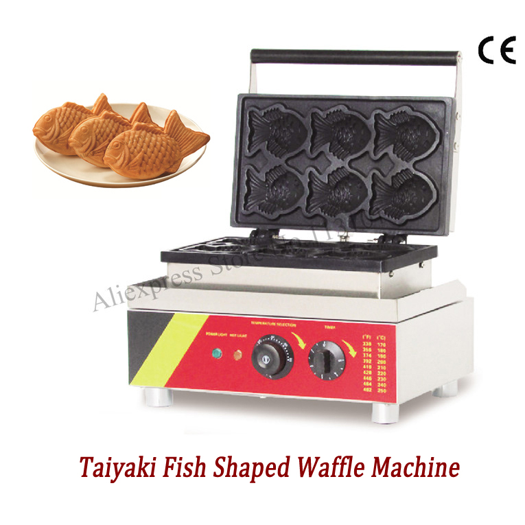 Electric Taiyaki waffle machine fish-shape cake waffle baker taiyaki maker wonderful snack machine with 6 moulds