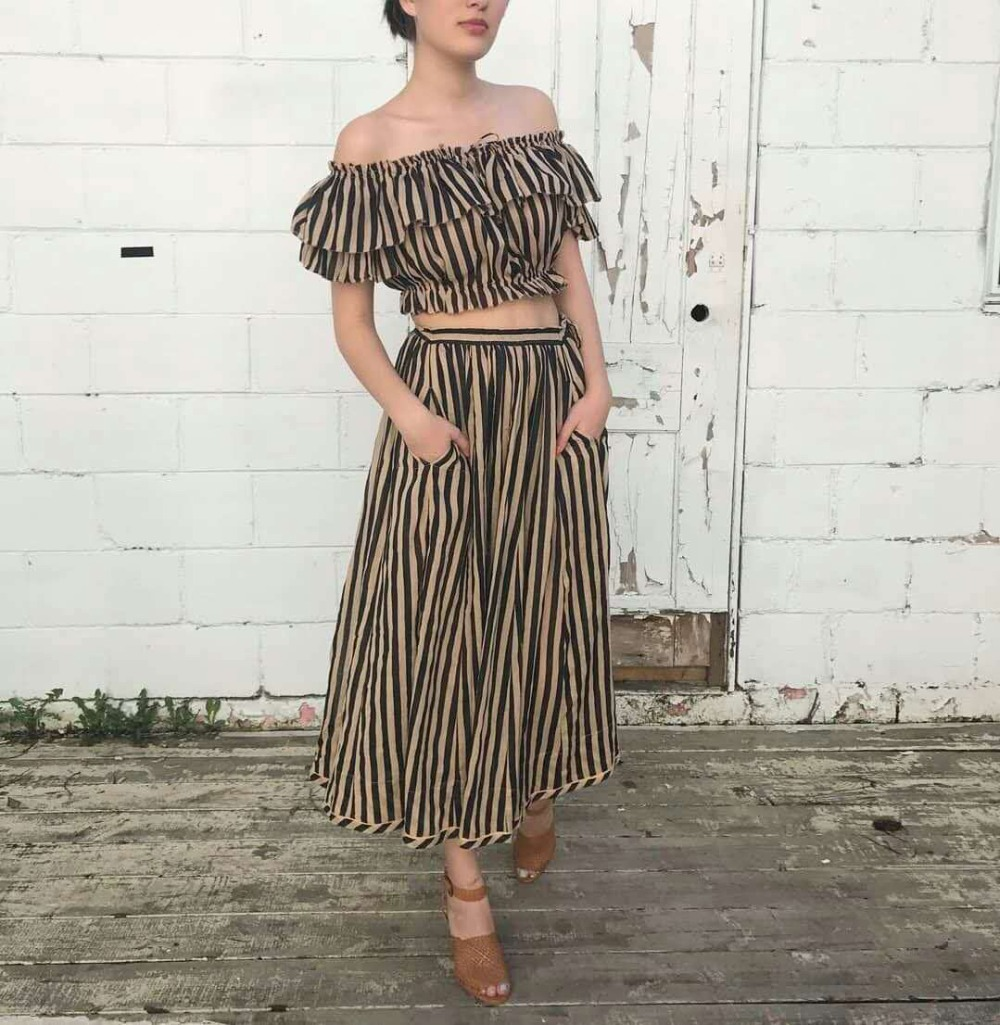 Lilypaul jaya off shoulder draw top and skirt set women striped print jaya ruffle top