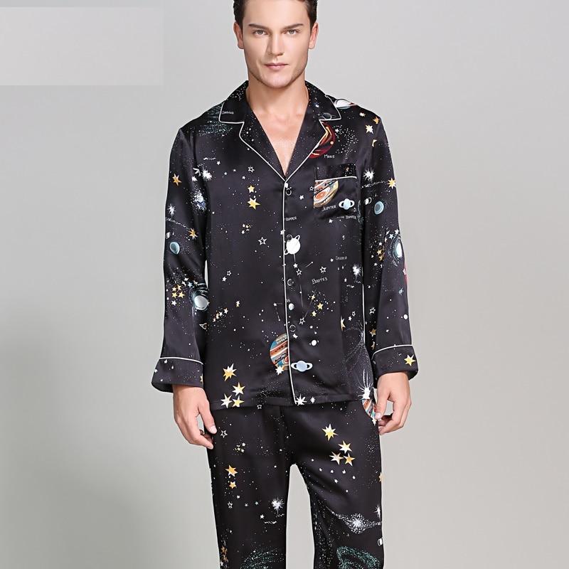 Men Satin 100%Silk Pyjamas Sets Male Pijama Sleepwear Home Clothing Mens 100% Silk Satin Pajamas  Set Sleepwear Set Loungewear