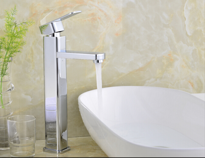 fashion high quality square cold and hot bathroom sink faucet basin faucet with 50 cm plumbing hose