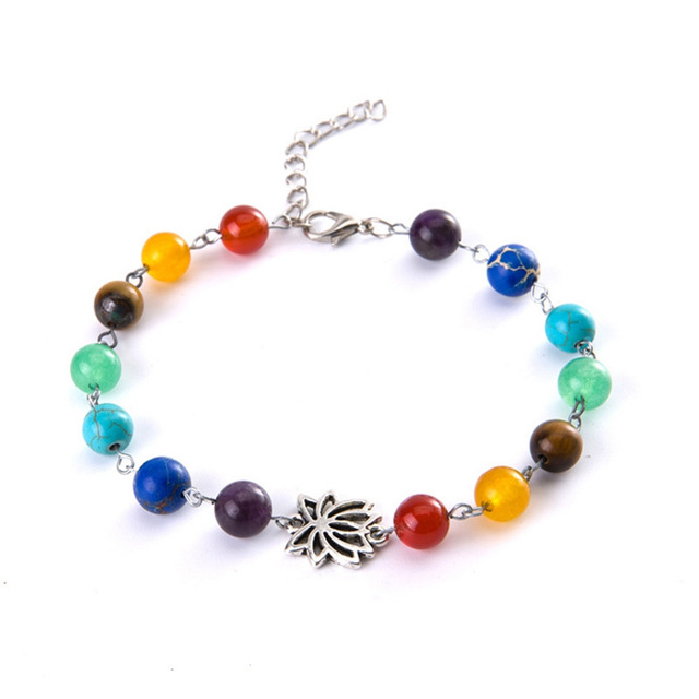 1 Pc Pretty Rainbow Chakra Multi Coloured Beaded Chain Anklet Ankle Bracelet Reiki
