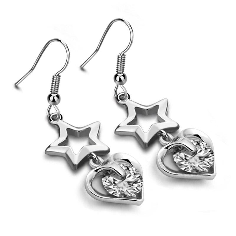 Fashion stars heart-shaped silver earrings Real Pure 925 Sterling Silver Jewelry Luxury Cubic Zirconia Earrings Women Favourites