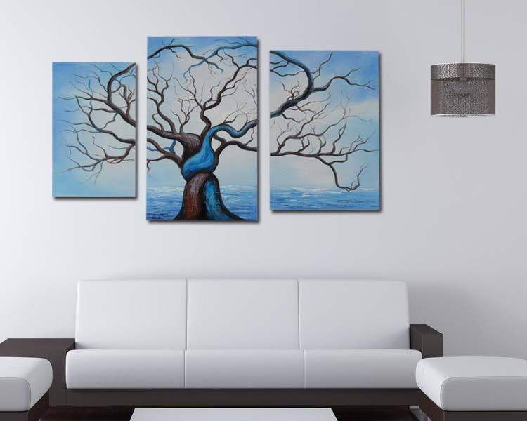 3panels modern abstract acrylic paintings big tree on canvas ...