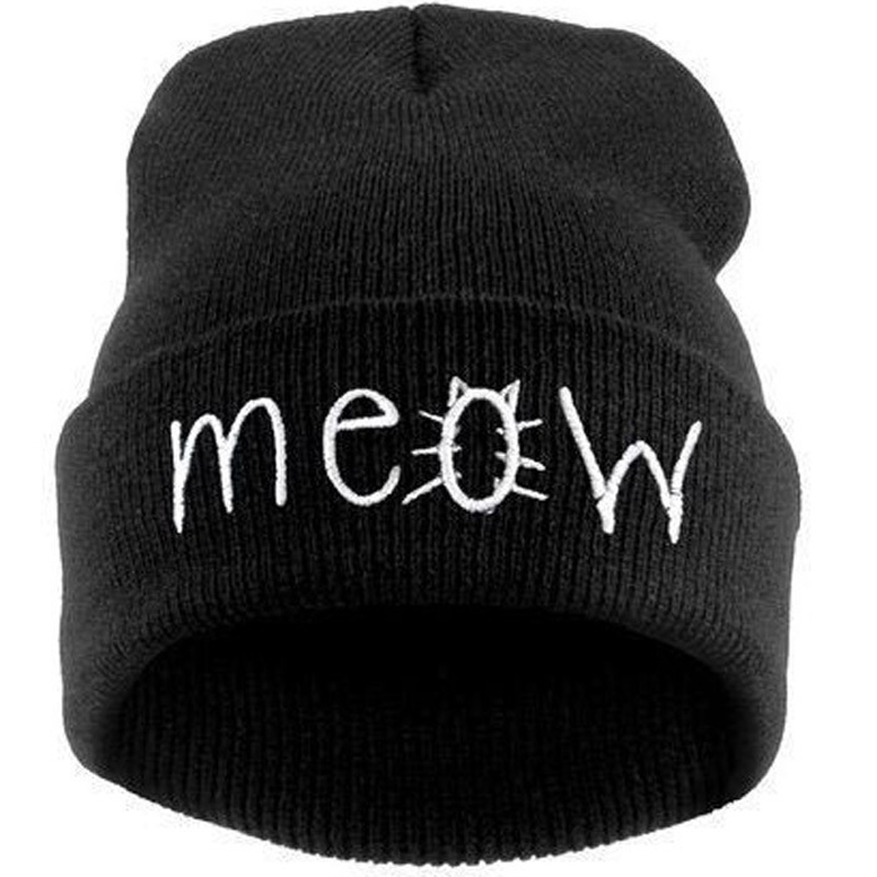 Hot Sale Fashion MEOW Cap Men Casual Hip-Hop Hats Knitted Wool Skullies Beanie Hat Warm Winter Hats for Women Free Shipping skullies hot sale candy colored knit cap sleeve head cap hip hop tide baotou cap 1866717