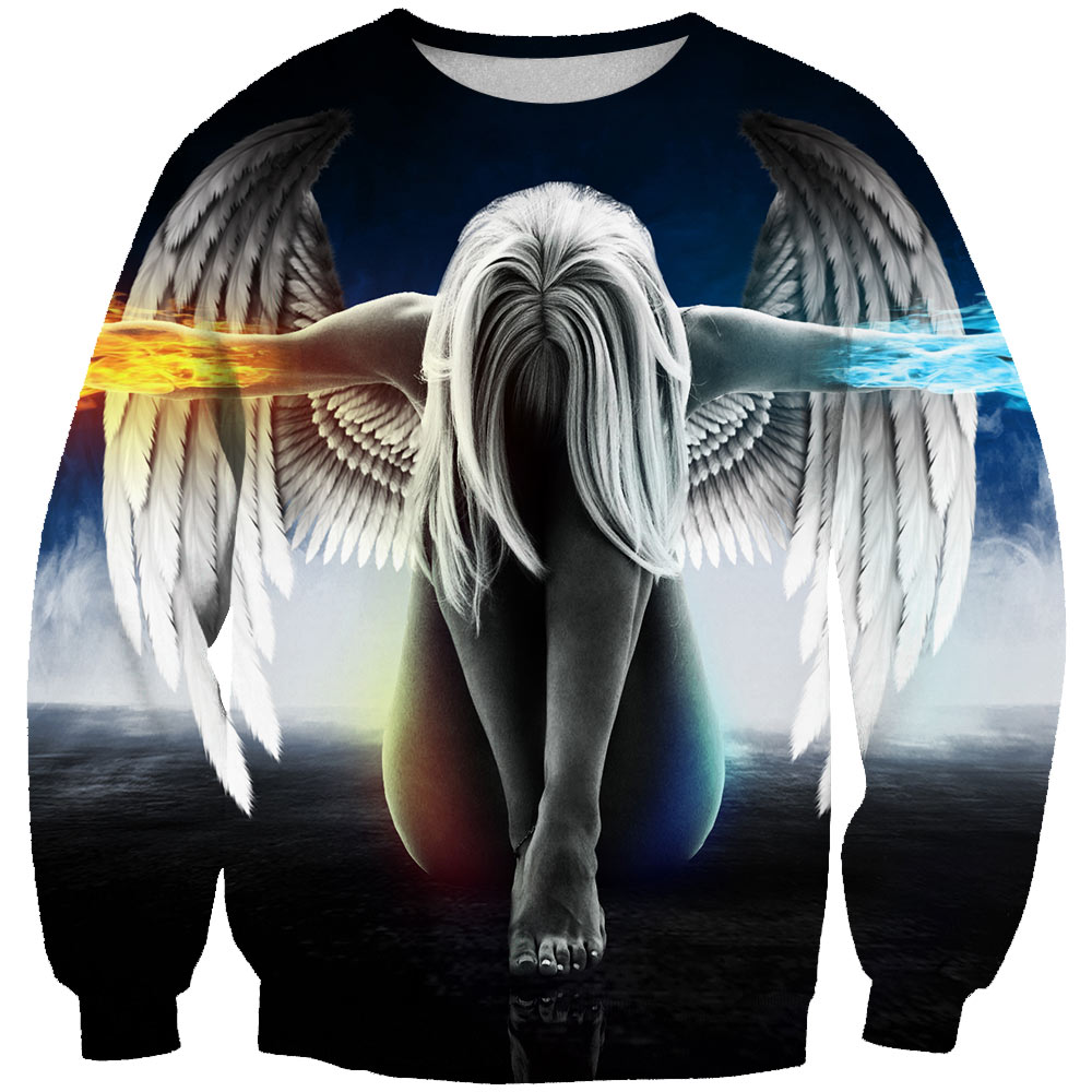 New Men/women 2019 Fashion Sweatshirts Angel 3D Print Style Unisex Pullovers Dropshipping Supplier