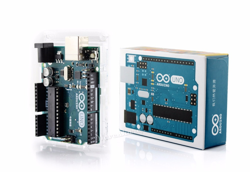 Parts Original Arduino UNO R3, official CN Ver. comes with acrylic case Compatible with former Arduino UNO shields ATMEGA328P