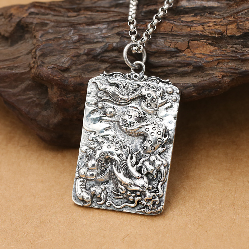 Factory Wholesale S925 Sterling Silver Jewelry Retro Thai Silver Fashion National Style Domineering Dragon Tag Mens PendantsFactory Wholesale S925 Sterling Silver Jewelry Retro Thai Silver Fashion National Style Domineering Dragon Tag Mens Pendants