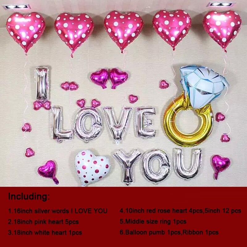 7896d4b41 1 مجموعة diy حفل زفاف أحبك كلمة وشملت بالون بالون مضخة بالون غرفة مفاجأة  هدية ملونة