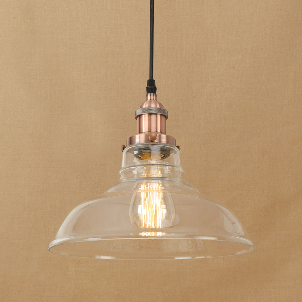 Vintage Clear Glass Lampshade Pendent Light Loft American Style Retro Iron Bronze Chrome Rusty Living Room Cafe Decor Chandelier vintage edison chandelier rusty lampshade american industrial retro iron pendant lights cafe bar clothing store ceiling lamp