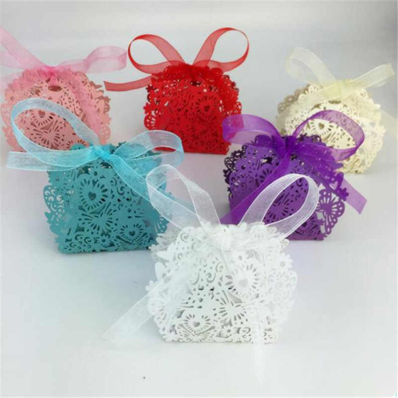 20pcs/lot Candy box Romantic Wedding favors Decor Butterfly Sweet Candy Gift Boxes with Ribbon Wedding Party B