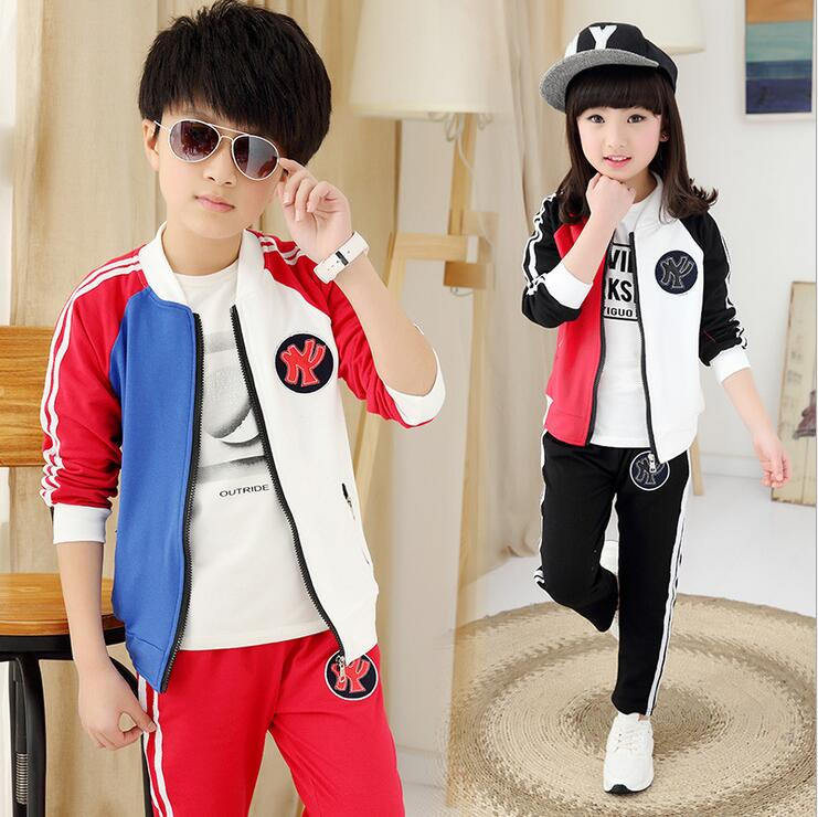 Brief Fashion Children 's Suit Fall Sets Of Clothes For Girls And Boys In Spring Two-piece Hit Color Coat Disfraces Ninos children boys spring two suit children in 2016 two sets of new long sleeved sweater leisure tide