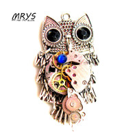 steampunk punk owl mechanical watch parts gears brooch pins pendant charm chain for women girls fashion jewelry christmas gift