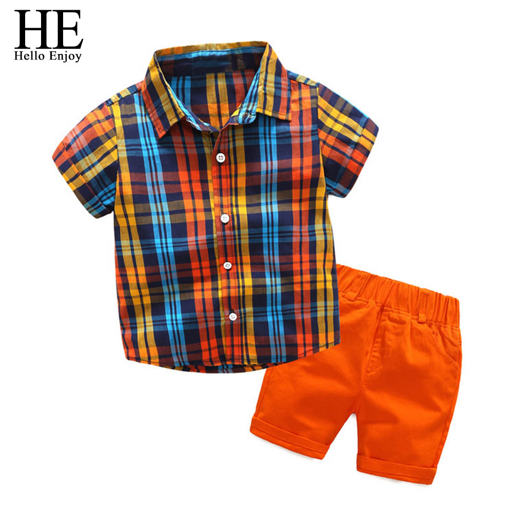 HE Hello Enjoy children clothing boys summer clothes new 2018 short sleeve plaid shirt+shorts suit kids clothing set 3-8T family fashion summer tops 2015 clothers short sleeve t shirt stripe navy style shirt clothes for mother dad and children