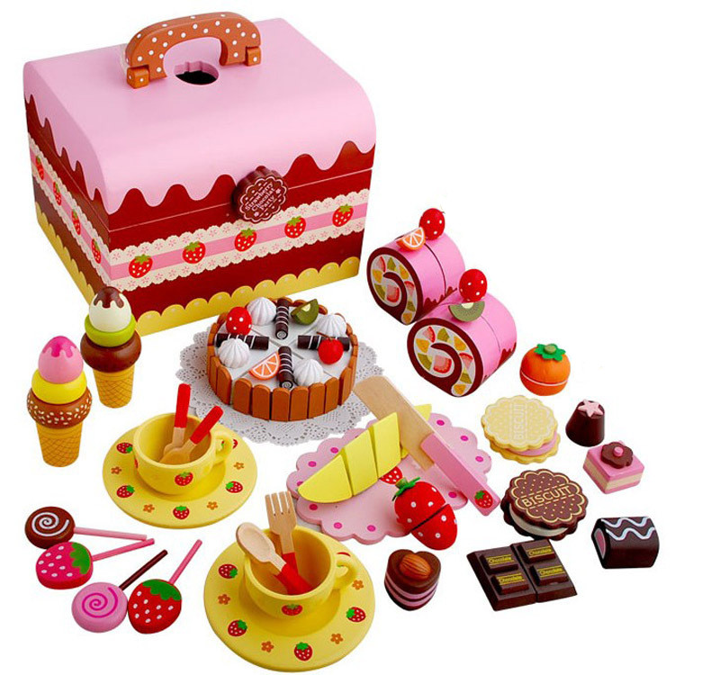New Arrival Baby Toys Strawberry Simulation Chocolate Cake Cut Set Pretend Play Kitchen Afternoon Tea Wooden Toys Birthday Gift cutebee new house wooden pretend play