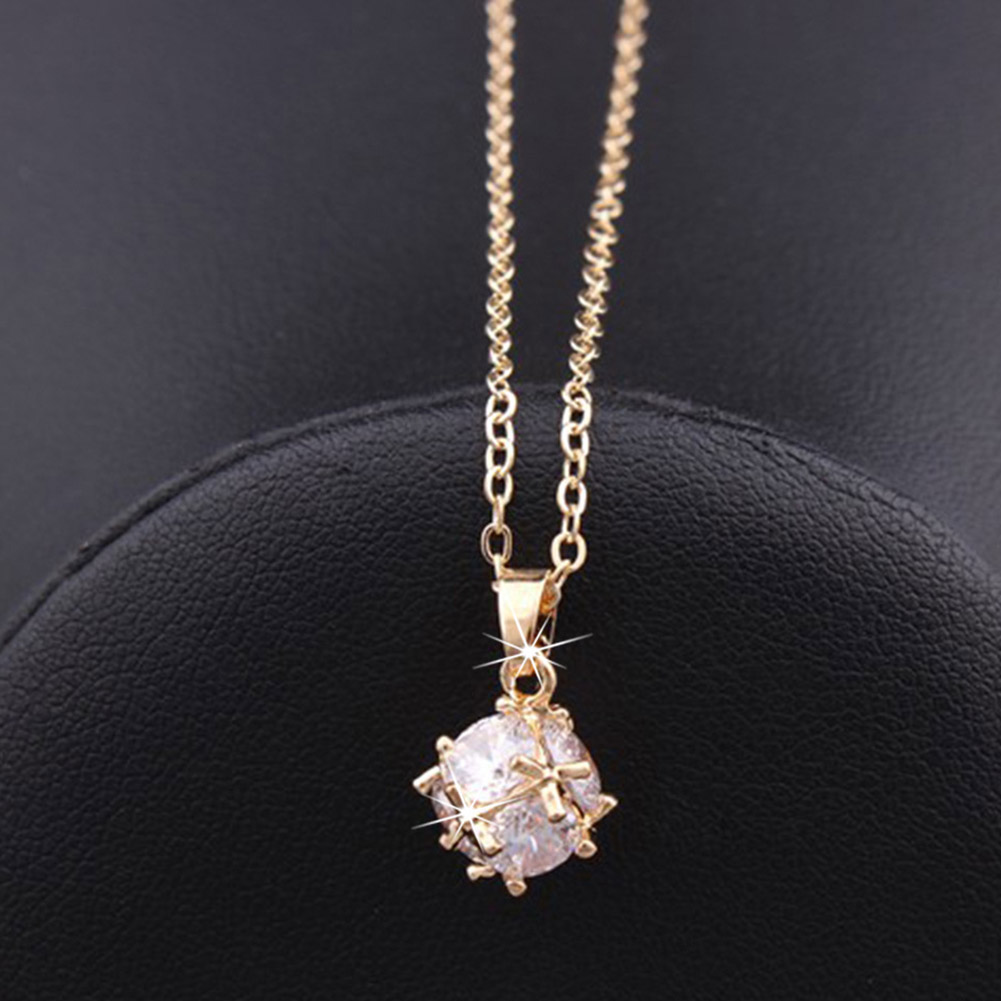 Stainless Steel Bijouterie Fashion Brand Rose Gold Color Woman Jewelry Square Zircon Pendant Necklace