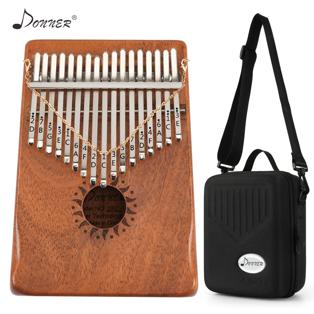 Donner 17 Keys Kalimba Mbira Thumb Piano Mini Keyboard Marimba Wood Musical Instrument Mahogany With Carrying Case Tuning Tool