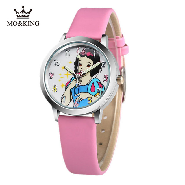 2019 hot selling children cute Princess dial quartz watch Snow White Girl Cartoon Birthday Party Gift for kids watch 7 colors