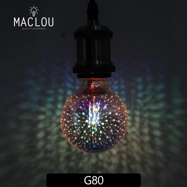 Vintage colorida Luz 3D bombilla LED 220 V lámpara E27 G125 G95 ST64 de Edison LED Bombillas de vacaciones decoración de Navidad iluminación