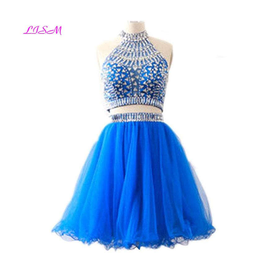 High Neck Two Pieces Mini Cocktail Dress Rhinestones Beaded Short Homecoming Dresses Sexy Backless Organza Above Knee Prom Gowns