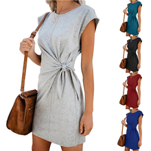 2019 New Summer Dress Women Vintage Draped Sexy Bodycon Vestidos Solid Short Sleeve Slim Female 5 colors Office Lady Dresses XXL