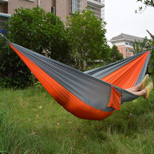 Wholesale Portable Nylon Parachute Double Hammock Garden Outdoor Camping Travel Survival Hammock Sleeping Bed For 2