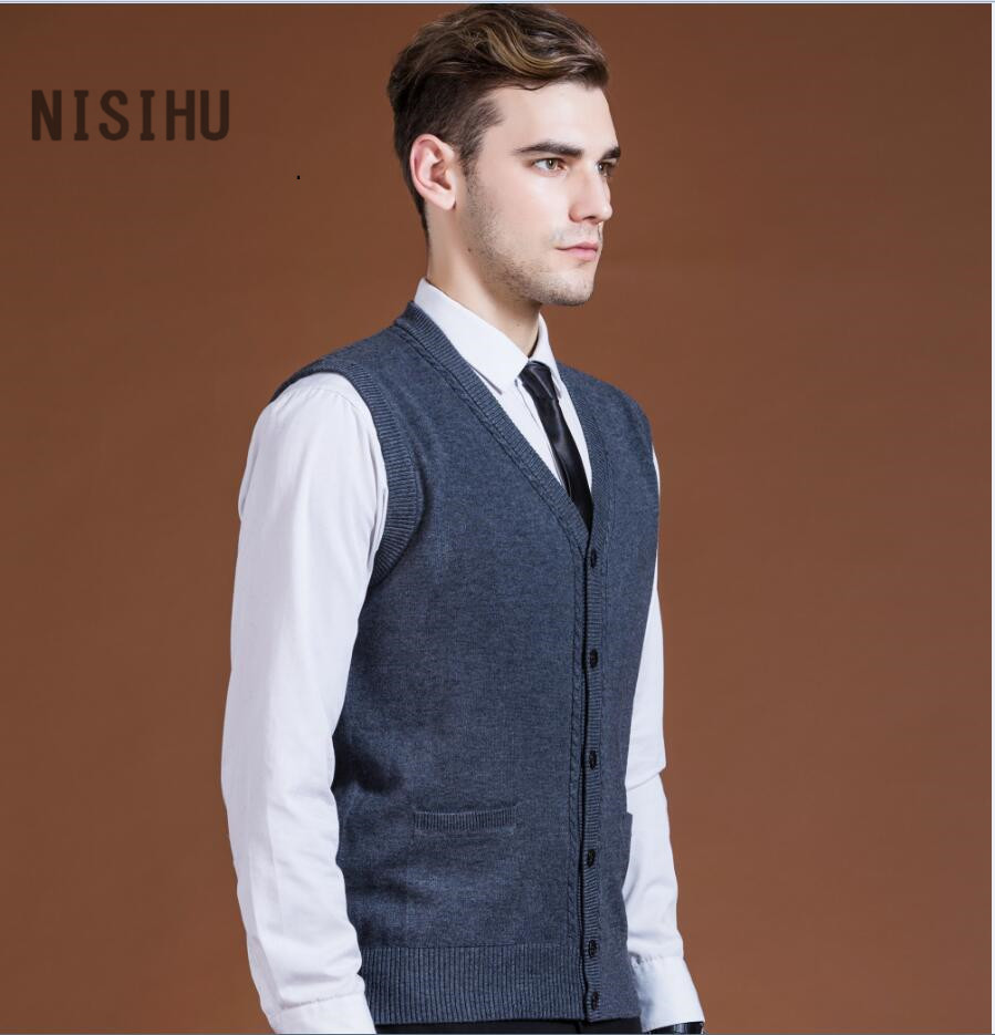 High quality most popular mens v neck wool knitted vest sleeveless ...