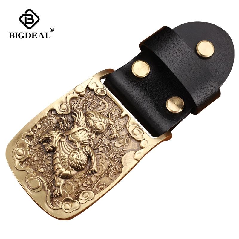 Retail Fashion Men's Oval 3D  Solid Brass Belt Buckle With Metal Mens Womens Belt Jewelry For 38mm Wideth Belt DIY Handwork