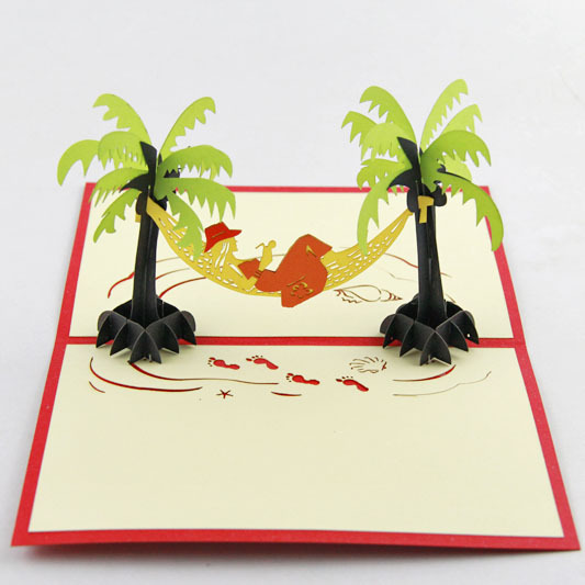 Tropical seaside resort tourism scenery sea coconut beach creative tropical seaside resort tourism scenery sea coconut beach creative 3d stereo card paper greeting cards in cards invitations from home garden on m4hsunfo