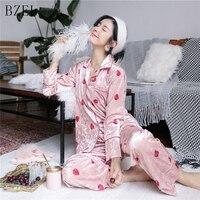 BZEL Pajamas Sets Winter Autumn Long Sleeve Sleepwear Cartoon Strawberry Nightwear Turn down Collar Sleep Lounge Underwear 2PCS