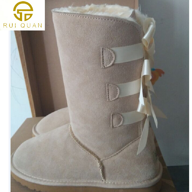 tall knee high 3 bows winter snow boots women s Real cow leather ... 9f88a809c64b