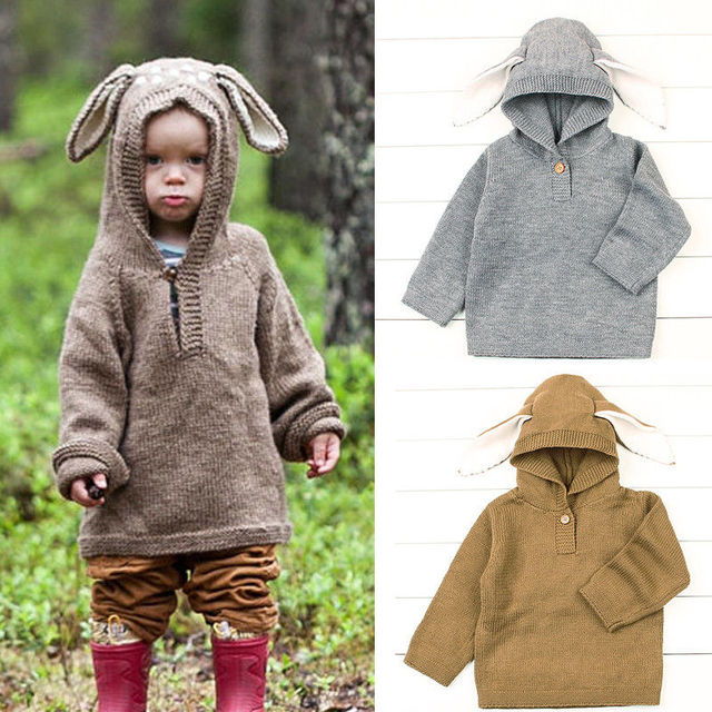 becb9cb4d804 Lovely Baby Sweaters Rabbit Kids Winter Coat Knitted Hooded Sweater ...