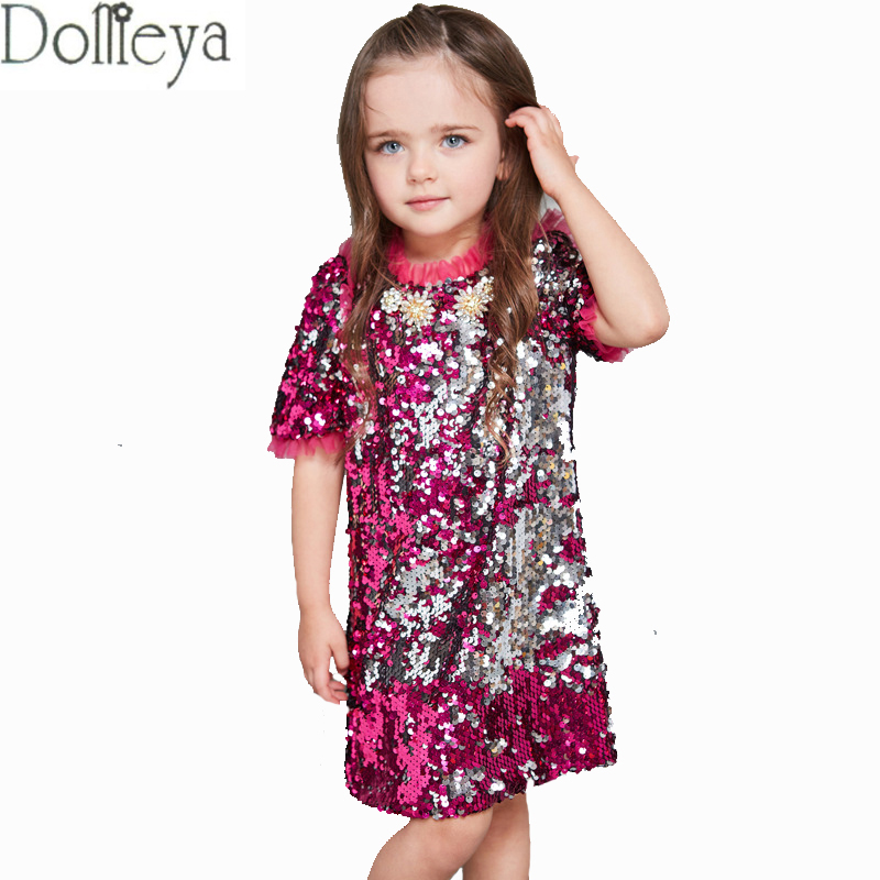 DOMEYA 2017 Fashion girls Sarafan shining dress Children clothing kids Rose red sequins Short sleeve Beading dress for baby girl hot sale halter beading sequins short homecoming dress