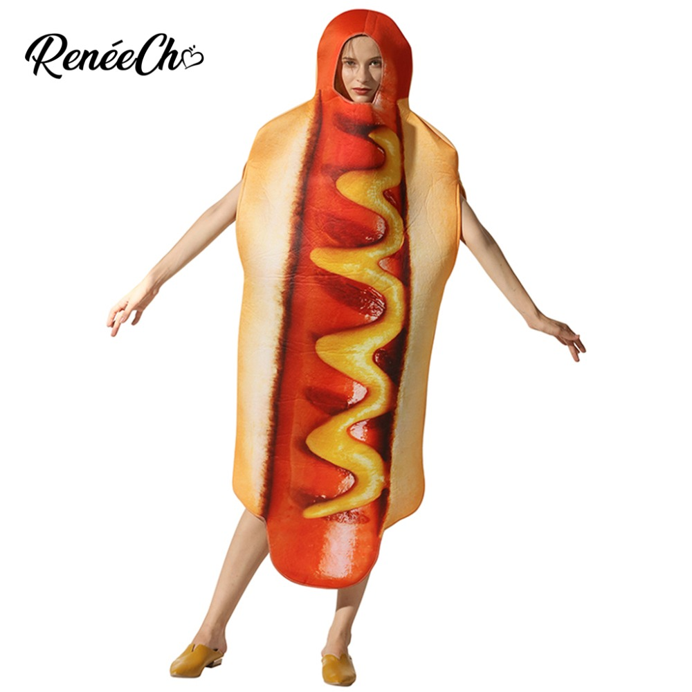 2018 Halloween Costumes For Women Adult Hot Dog Costume Lady Hotdog Cosplay Funny Food Carnival Costume Unisex Men Emoji Cosplay