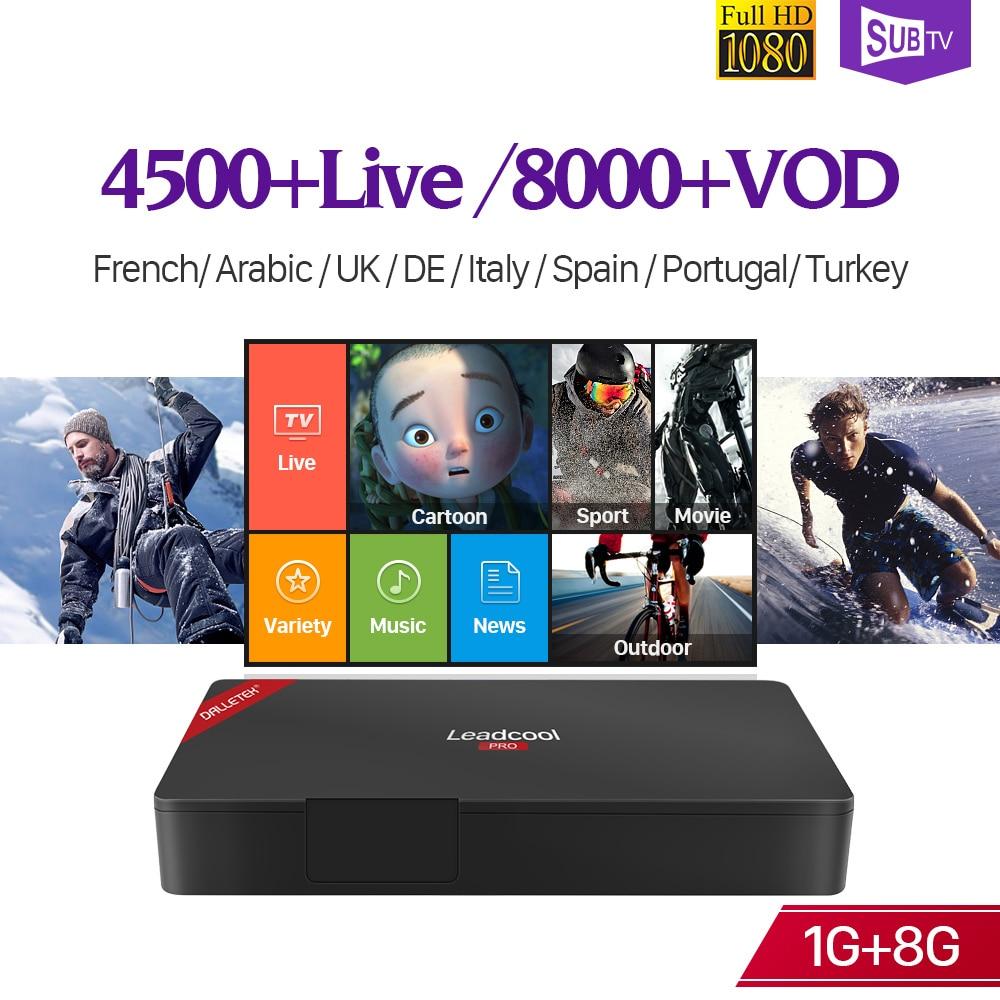 IPTV 4K Full HD French Receiver Box Leadcool Pro Android 7.1 RK3229 WIFI Decoder IPTV Subscription SUBTV Arabic Portugal Italia цена