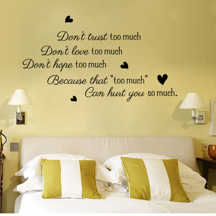 Donu0027t Trust Too Much Love Wall Decals Sticker Quote Wall Arts Diy  Decorative Bedroom Removable Vinyl Wall Stickers Wholesale In Wall Stickers  From Home ... Part 46