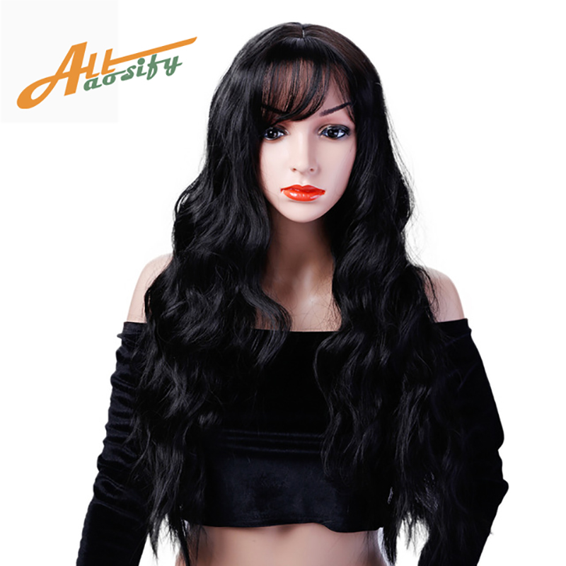 Allaosify Long Wavy Hair Wigs For Women Synthetic Gray Wigs For