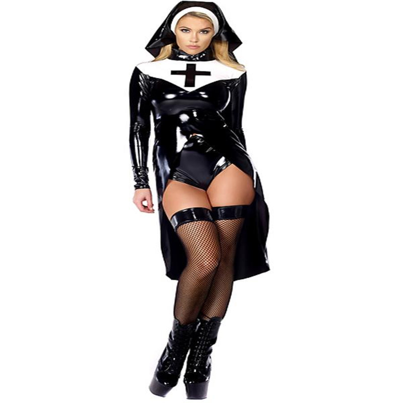 Nuns Role Play Halloween Costumes Cosplay  Fashion Saintlike Seductress Fancy Dress Vinyl Leather Black Women Sexy Nuns Costume-in Movie & TV costumes from Novelty & Special Use