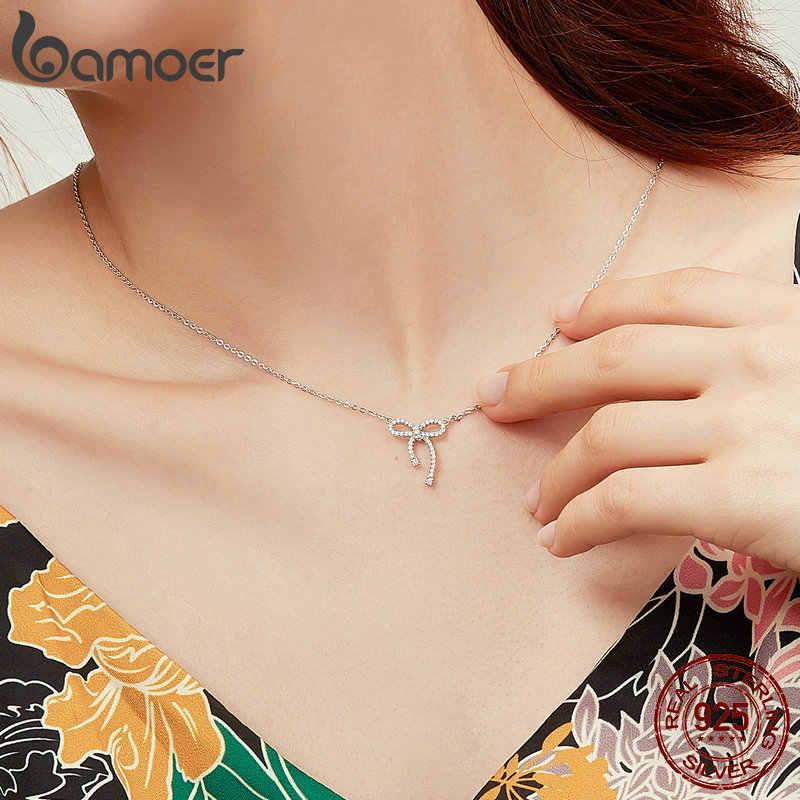 BAMOER romantik 925 ayar gümüş parlak ilmek şekli temizle kübik zirkon kadın kolye kadın moda takı BSN040