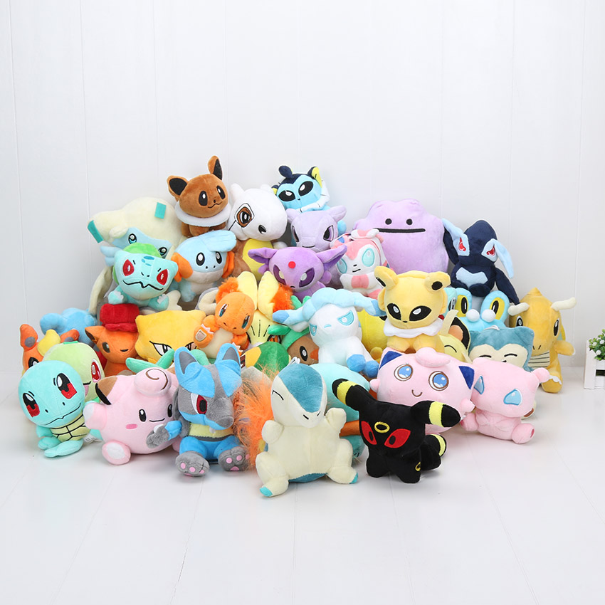 40Pcs lot doll Ampharos Jirachi Jigglypuff Lugia Mudkip Mew Clefairy Cubone Ditto Vulpix eevee Plush Toy