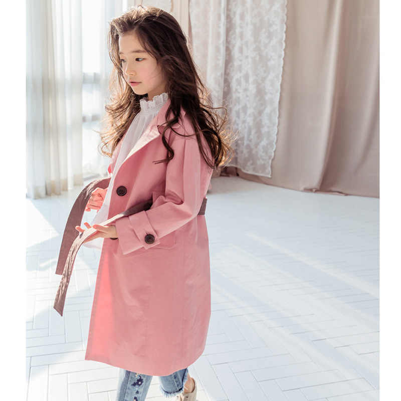 2018 neue Herbst Mode Kleinkind Mädchen Graben Mäntel Solide Khaki Rosa Farbe Baby Mädchen Graben Mantel Für Mädchen Windbreaker Kostüm
