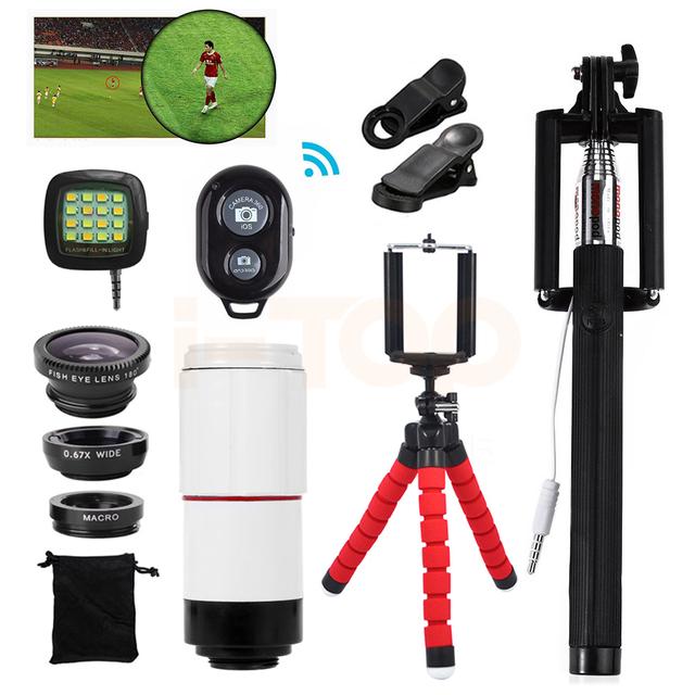 2017 móvel kit de lentes 8x lente zoom telefoto telescópio microscópio lentes olho de peixe para câmera do telefone iphone 7 samsung xiaomi meizu