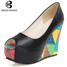 BONJOMARISA New Sexy Shallow Platform Pumps Women 2019 Autumn Colorful Wedges Shoes Woman High Heels